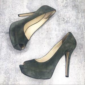 ENZO ANGIOLINI Peep Toe Heels Pumps Green Sz 11M